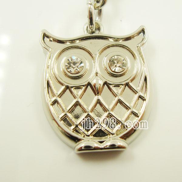 可爱动物造型钥匙挂件吊坠猫头鹰钥匙扣镶钻